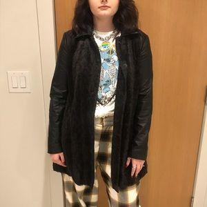 Vintage free people leather /fur jacket .